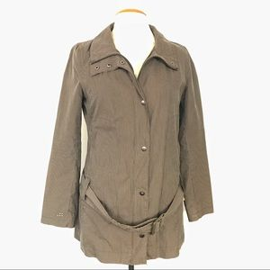 SOIA & KYO Brown Striped Belted Trench Jacket Sz L